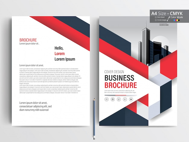Modelo de layout de folheto de negócios de triângulo vermelho e azul Vetor Premium