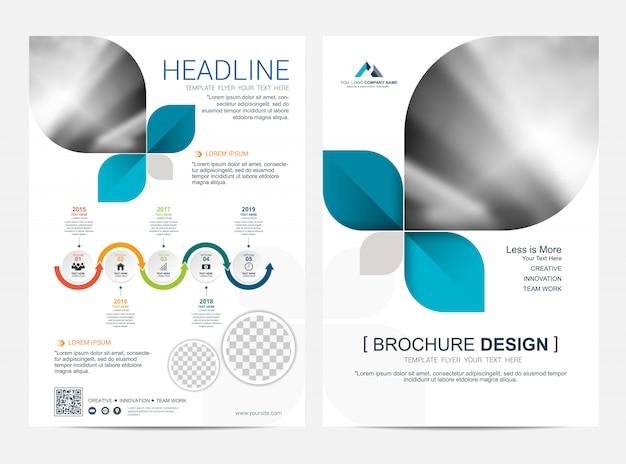 Modelo de layout de folheto, folheto flyer capa projeto fundo Vetor Premium