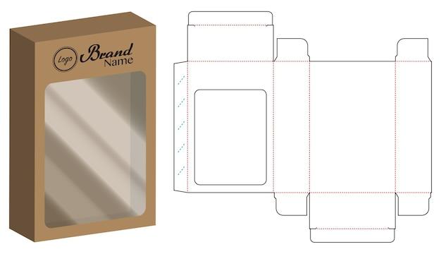 Modelo de linha de corte de caixa de embalagem de papel de dvd Vetor Premium