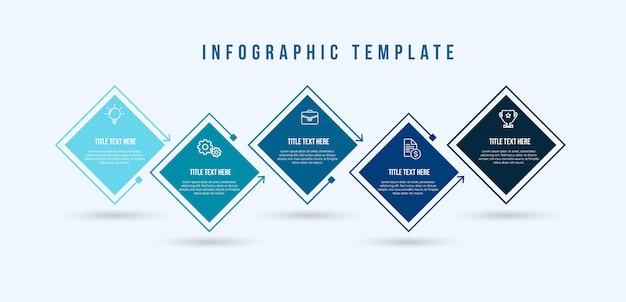 Modelo de linha fina de infográfico Vetor Premium
