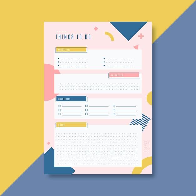 Modelo de lista colorido para fazer Vetor grátis