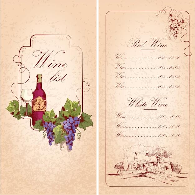 Modelo de lista de vinhos Vetor Premium
