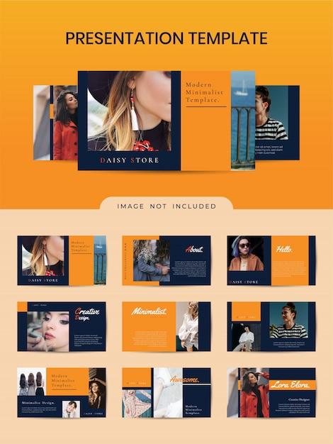 Modelo de livreto elegante para loja de moda com cor laranja. Vetor Premium