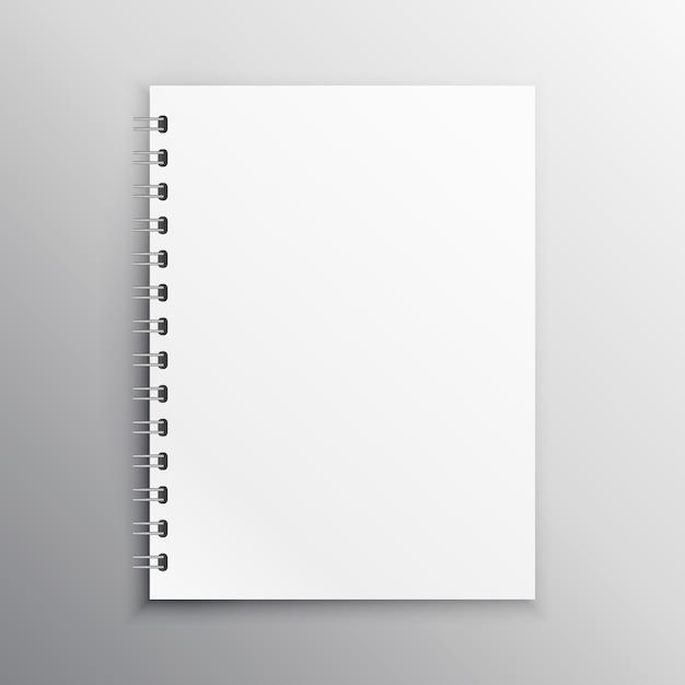 Modelo de livro ou diário mockup brank com ligação em espiral Vetor Premium