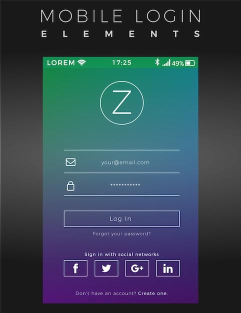 Modelo de login do mobile gradient Vetor Premium