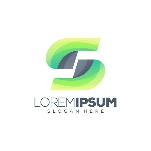 Modelo de logotipo abstrato letra s Vetor Premium