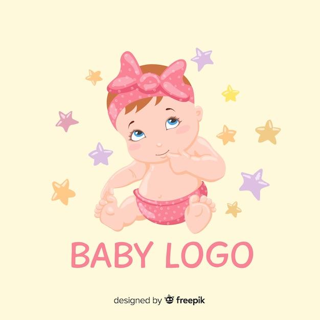 Modelo de logotipo adorável loja de bebê com estilo moderno Vetor grátis