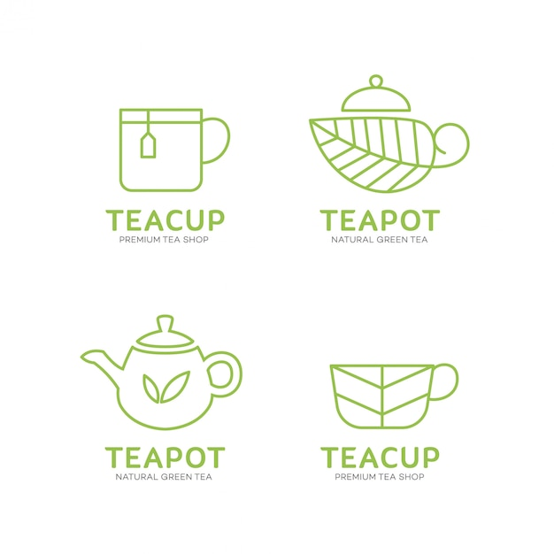Modelo de logotipo bule e xícara de chá Vetor Premium