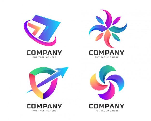 Modelo de logotipo colorido abstrato para negócios Vetor Premium