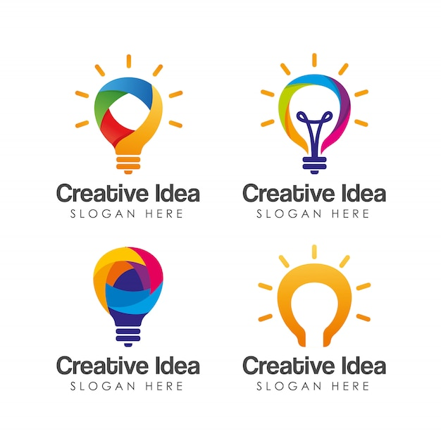 Modelo de logotipo colorido idéia criativa. Vetor Premium