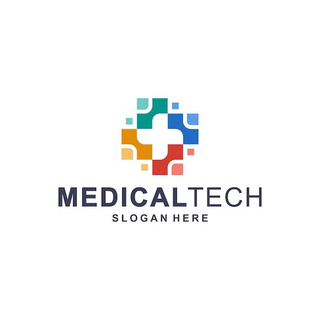 Modelo de logotipo colorido tecnologia médica Vetor Premium