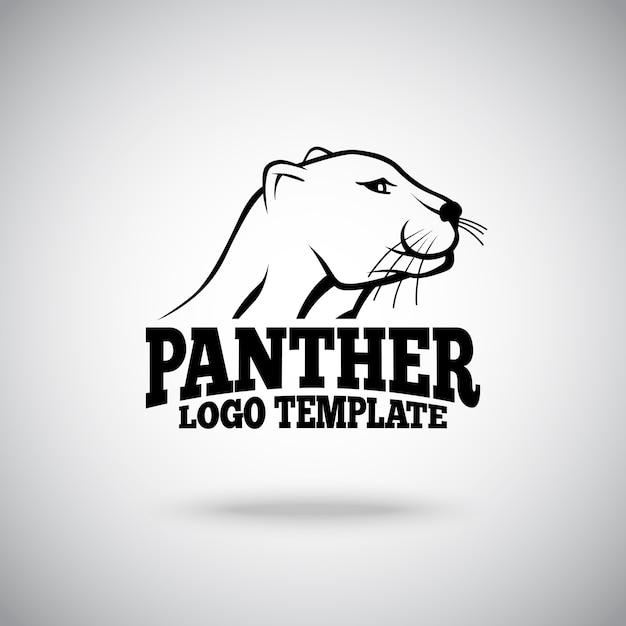 Modelo de logotipo com ilustração do panther Vetor Premium