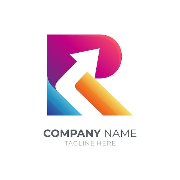 Modelo de logotipo comercial da letra r e seta Vetor Premium
