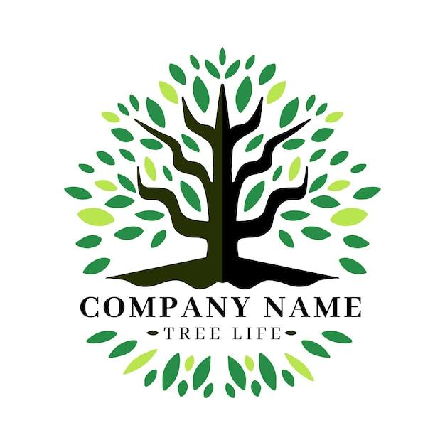 Modelo de logotipo da árvore da natureza da empresa Vetor Premium