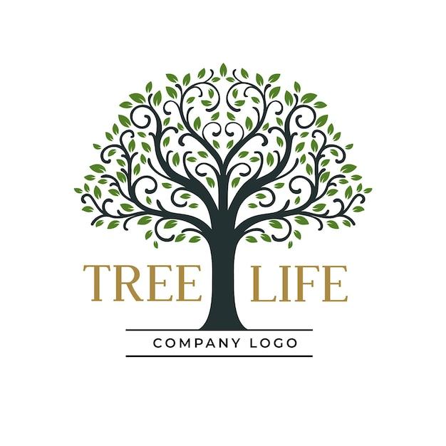 Modelo de logotipo da empresa tree life Vetor Premium