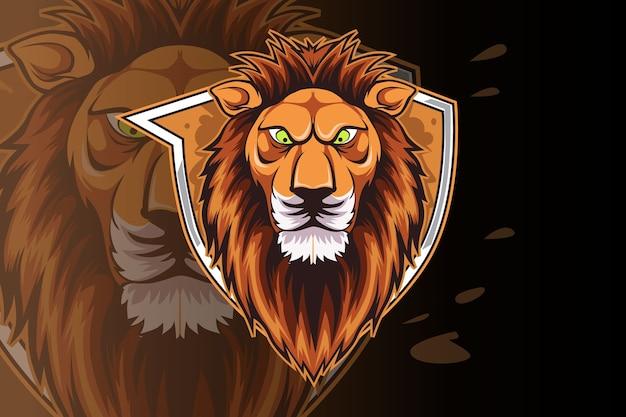 Modelo de logotipo da equipe lion e-sports Vetor Premium