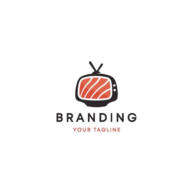 Modelo de logotipo da televisão japonesa de sushi Vetor Premium
