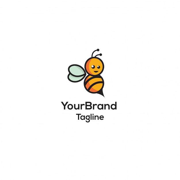 Modelo de logotipo de abelha Vetor Premium