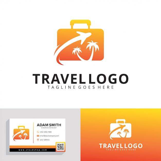 Modelo de logotipo de agência de viagens Vetor Premium