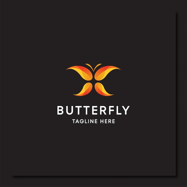 Modelo de logotipo de arte em gradiente de borboleta colorida Vetor Premium