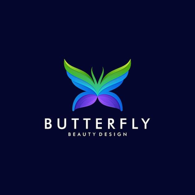 Modelo de logotipo de arte gradiente de borboleta colorida. conceito de design abstrato animal Vetor Premium