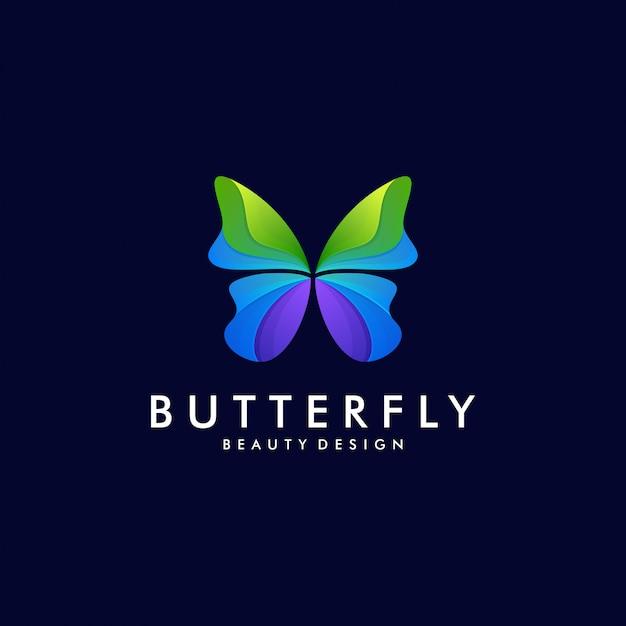 Modelo de logotipo de arte gradiente de borboleta colorida. conceito de vetor de design abstrato animal Vetor Premium