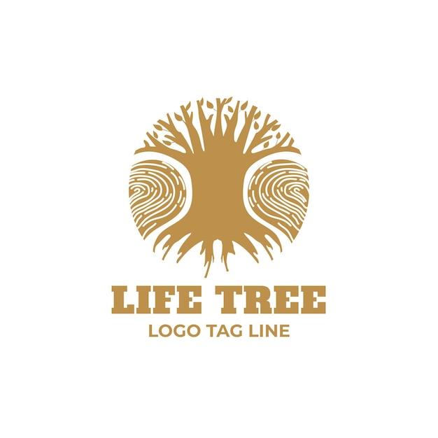 Modelo de logotipo de árvore da natureza da empresa - tons dourados Vetor Premium