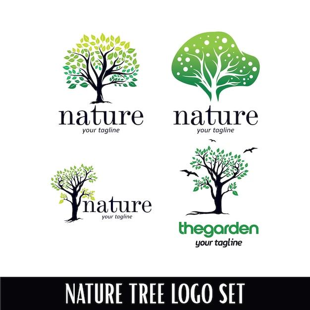 Modelo de logotipo de árvore natural Vetor Premium