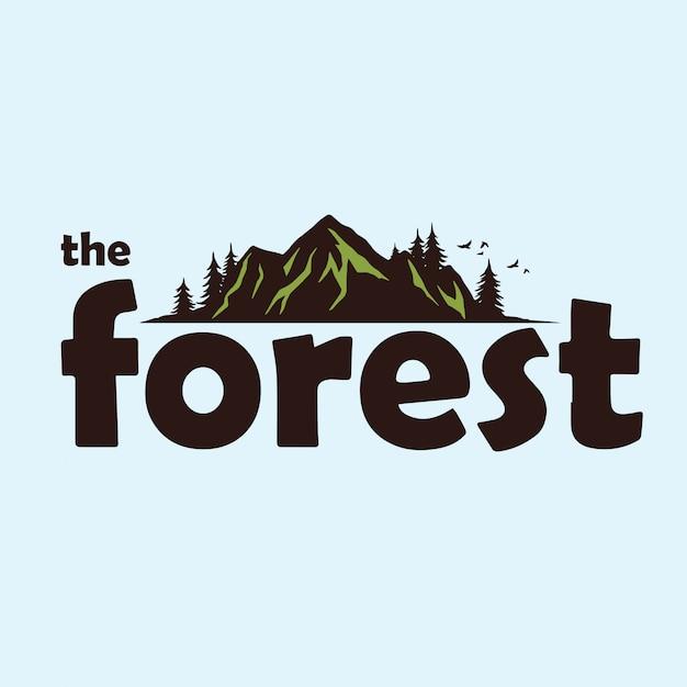 Modelo de logotipo de aventura de montanha de floresta Vetor Premium