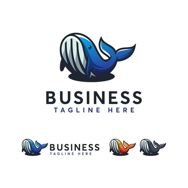 Modelo de logotipo de baleia Vetor Premium