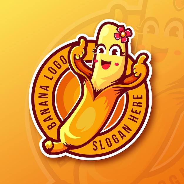 Modelo de logotipo de banana com polegares para cima Vetor grátis