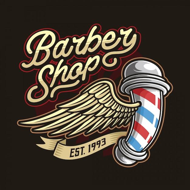 Modelo de logotipo de barbearia Vetor Premium