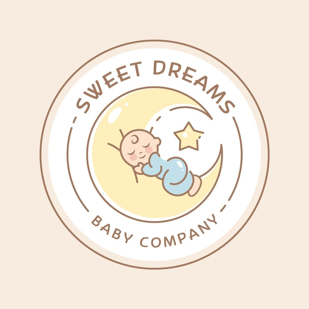 Modelo de logotipo de bebê sonolento Vetor Premium