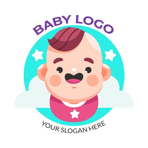 Modelo de logotipo de bebê sorridente e estrelas Vetor grátis