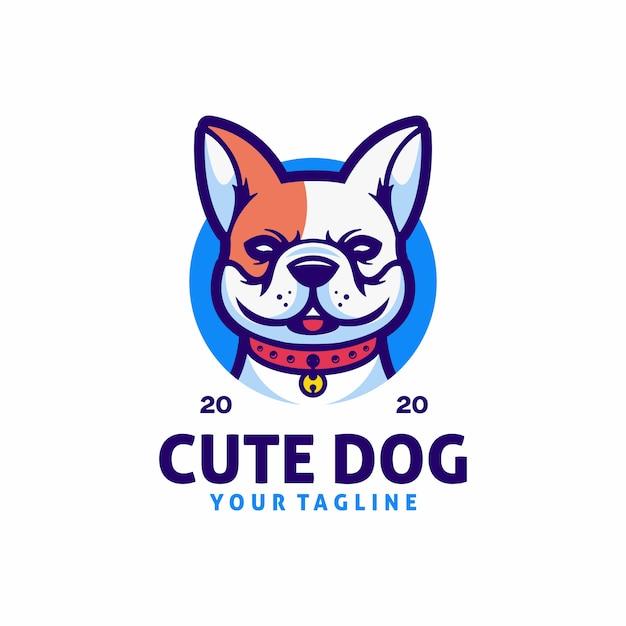 Modelo de logotipo de cachorro fofo Vetor Premium