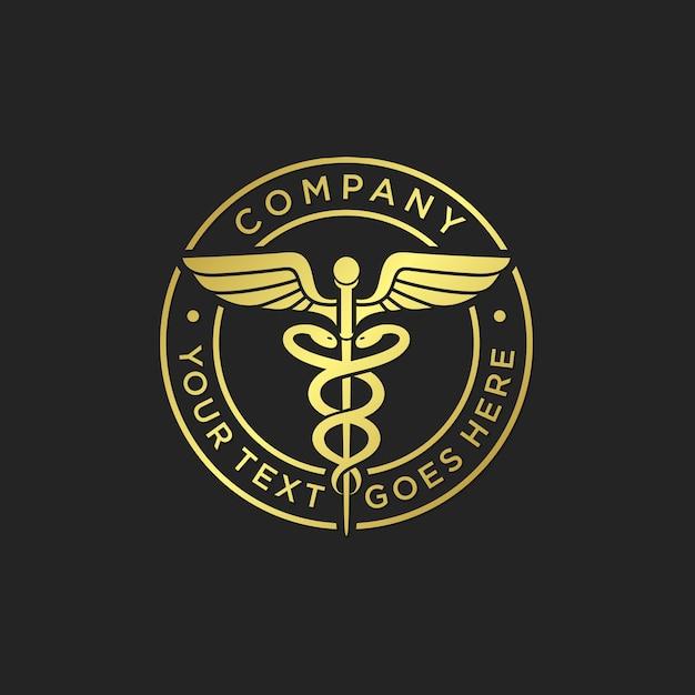 Modelo de logotipo de caduceu médico ouro Vetor Premium