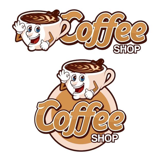Modelo de logotipo de cafeteria, com personagem engraçada Vetor Premium