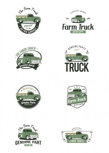 Modelo de logotipo de caminhão retrô. logotipo de caminhão de fazenda Vetor Premium