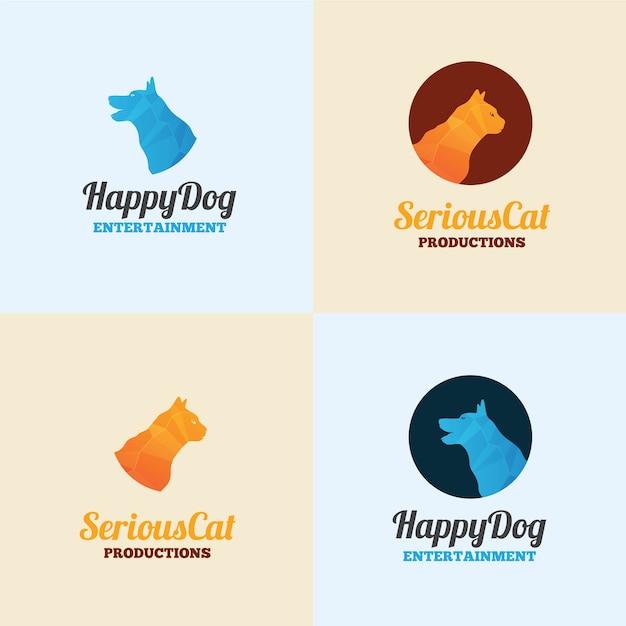 Modelo de logotipo de cão e gato Vetor Premium