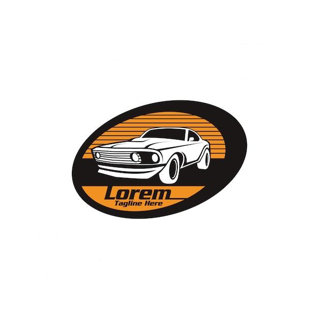 Modelo de logotipo de carro clássico automotivo Vetor Premium
