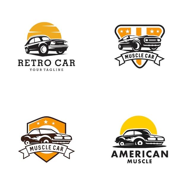 Modelo de logotipo de carro clássico Vetor Premium