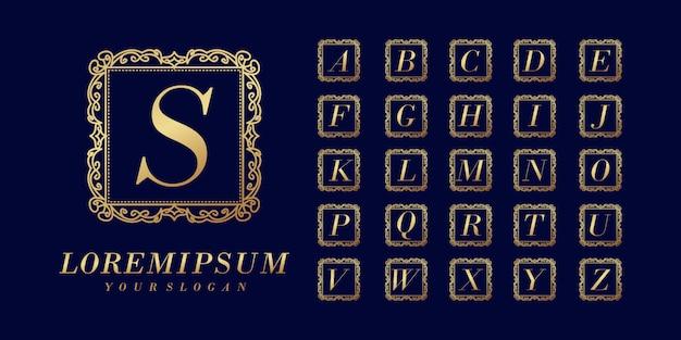 Modelo de logotipo de carta inicial elegante e luxuoso Vetor Premium