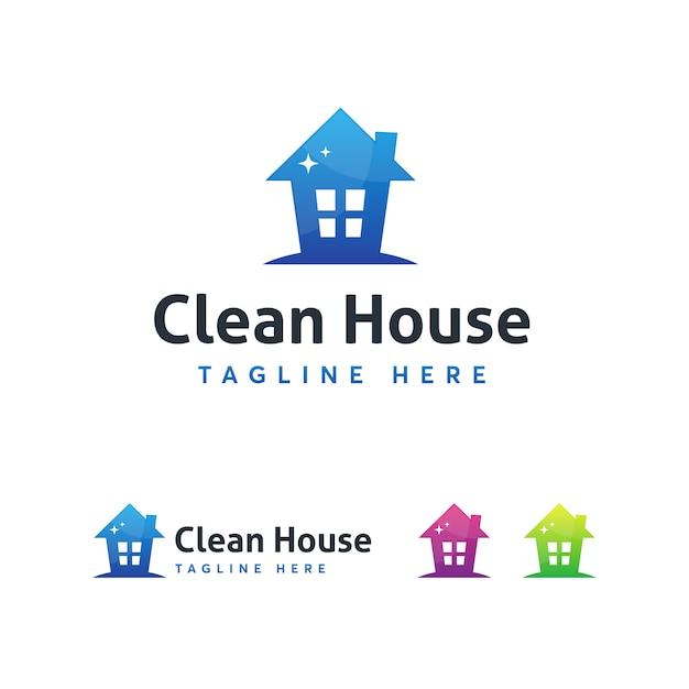 Modelo de logotipo de casa limpa Vetor Premium