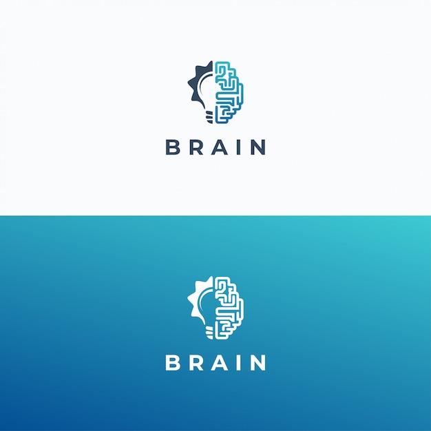 Modelo de logotipo de cérebro e lâmpada Vetor Premium