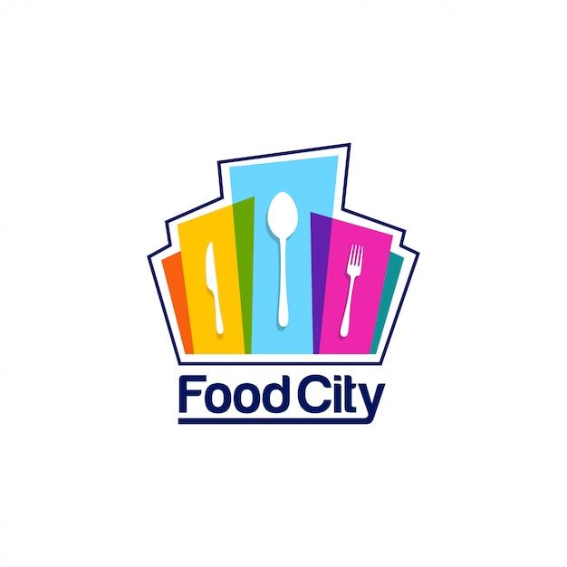 Modelo de logotipo de cidade de comida Vetor Premium