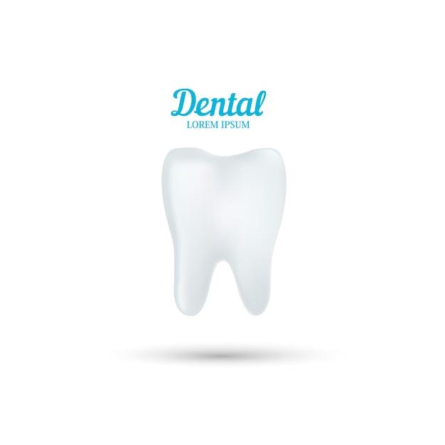 Modelo de logotipo de clínica dentária. dente humano abstrato. Vetor Premium