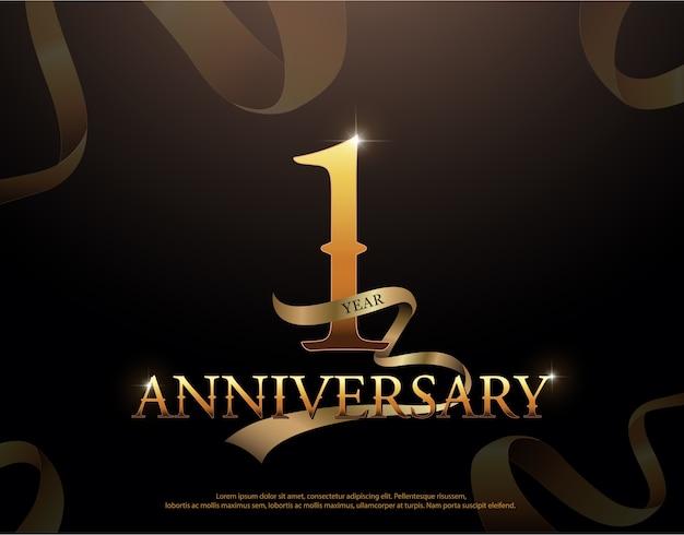 Modelo de logotipo de comemoração de aniversário de 1 ano Vetor Premium