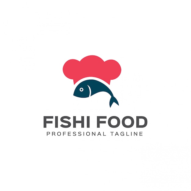 Modelo de logotipo de comida de peixe Vetor Premium