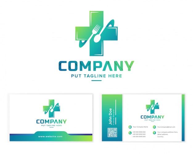 Modelo de logotipo de comida saudável para empresa Vetor Premium
