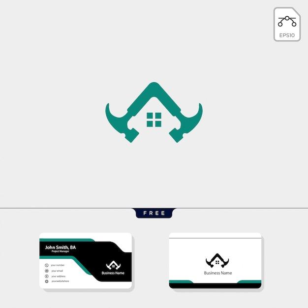 Modelo de logotipo de construção de martelo, design de cartão de visita grátis Vetor Premium